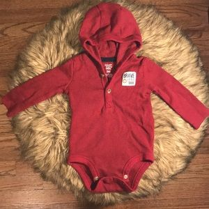 Carters Burgundy Bodysuit Hoodie. Infant Size 3m